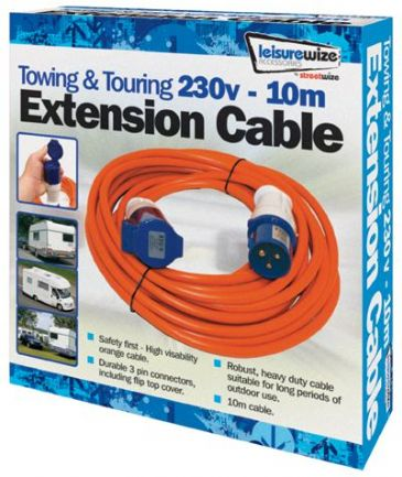 Streetwize 230v 10m Camping/Caravan Electric Extension Lead